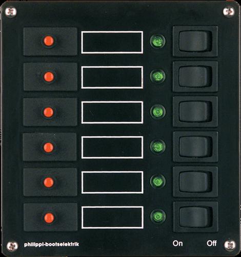 PHILIPPI STV 106 schakelpaneel 6-voudig - automatische zekeringen