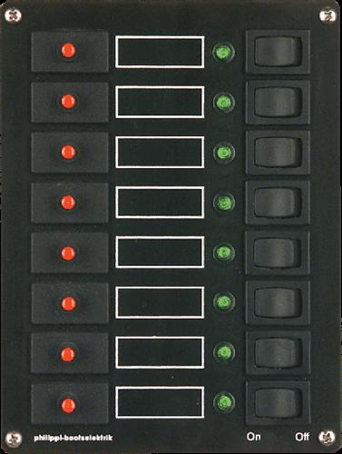 PHILIPPI STV 108 schakelpaneel 8-voudig - automatische zekeringen