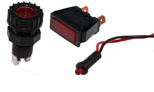 Large round indicator 12 Volt/red