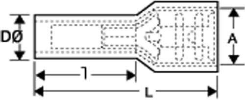 Vlakstekker geisoleerd  6.4 x 0.8 rood, a.v.i.