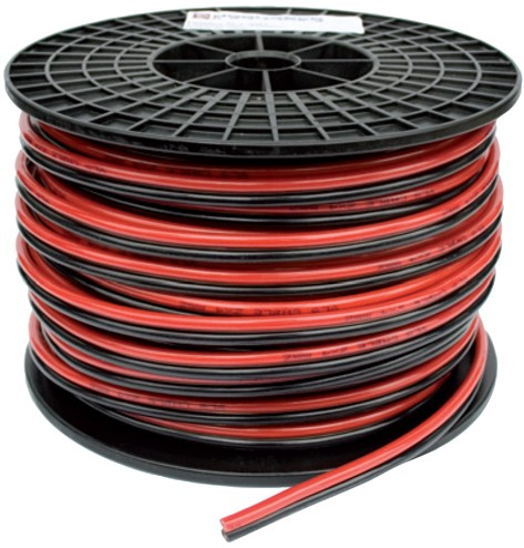 Verlichtingskabel zwart/rood 2x0.75 mm