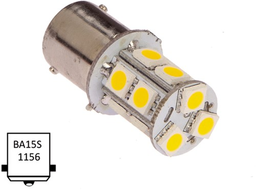Ba15S enkel 10-30VDC 2W/20W WW