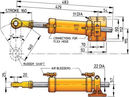 Vetus stuurcilinder MTC12510mm