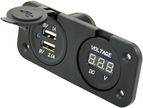 USB 12V Voltmeter+2x uitvoer inb