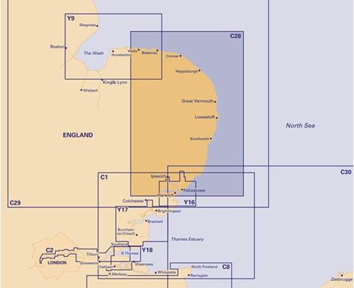 Imray kaart C 28 Noordzee