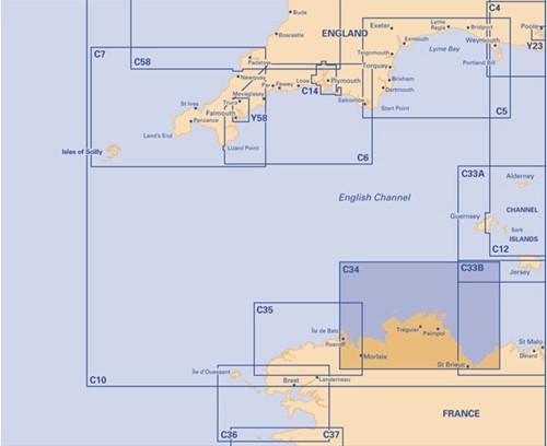Imray kaart C 34 Kanaal