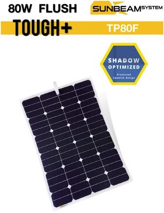 Sunbeam Tough+ flexibel zonnepaneel 80W Flush
