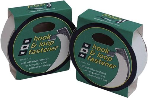 Hook & loop zelfklevend klittenband wit 25mm 1m