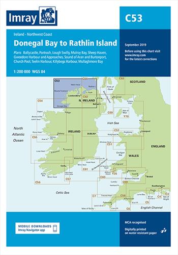 Imray kaart C 53 Donegal Bay to Rathlin Island
