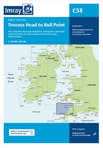 Imray kaart C 58 Trevose Head to Bull Point