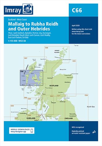 Imray kaart C 66 Mallaig to Rudha Reidh and Outer Hebrides
